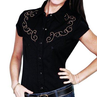 画像1: スカリー 刺繍 スクロール ウエスタン シャツ ブラック キャップスリーブ/Scully Western Shirt(Women's)