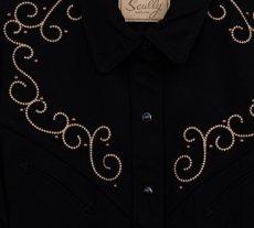 画像2: スカリー 刺繍 スクロール ウエスタン シャツ ブラック キャップスリーブ/Scully Western Shirt(Women's) (2)