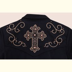 画像3: スカリー 刺繍 スクロール ウエスタン シャツ ブラック キャップスリーブ/Scully Western Shirt(Women's) (3)