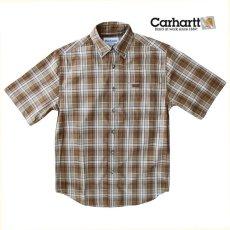 画像2: カーハート 半袖 シャツ(ブラウン)/Carhartt Plaid Shortsleeve Shirt(Brown) (2)