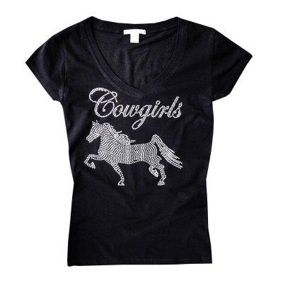 画像1: ラインストーン ホース ウエスタン Tシャツ ブラック(半袖)/Women's Western T-shirt