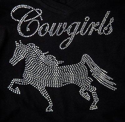 画像2: ラインストーン ホース ウエスタン Tシャツ ブラック(半袖)/Women's Western T-shirt