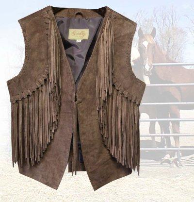 画像1: スカリー ウエスタン フリンジ ベスト(ブラウン)XS/Scully Western Fringe Vest(Women's)
