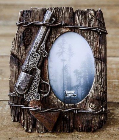 画像1: ピストル&有刺鉄線 ウエスタン フォトフレーム・写真立て/Photo Frame