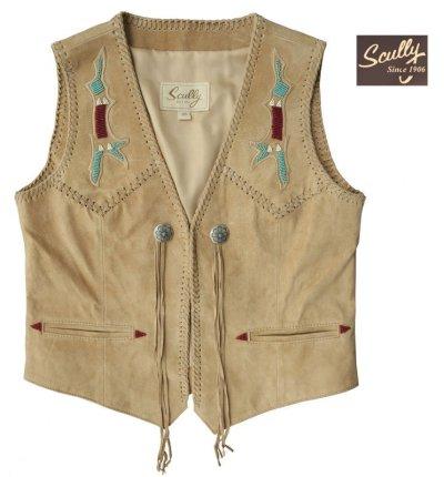 画像1: スカリー ウエスタン フリンジ ベスト(ビーズ・タン)XS/Scully Fringe Vest(Women's)