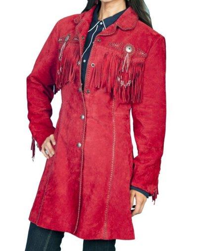 画像1: スカリー ウエスタン フリンジ レザー コート(レッド)/Scully Leather Fringe Coat(Women's)