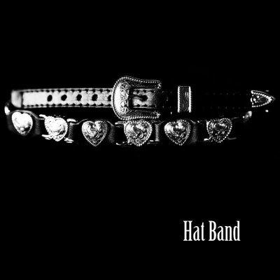 画像1: ハットバンド ハート(ブラック)/Hat Band Leather w/Heart Concho(Black)