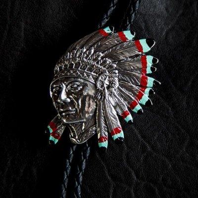 画像1: ウォーボンネット インディアン ボロタイ/Western Bolo Tie