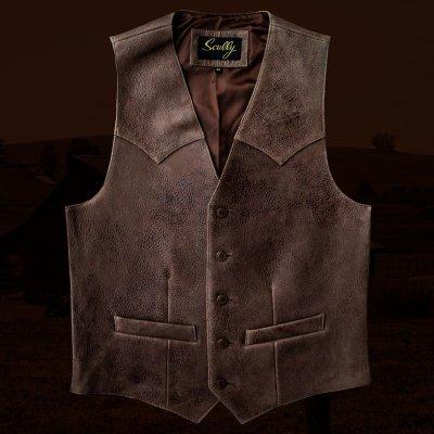 画像1: スカリー ウエスタンヨーク ラムレザー ベスト(ブラウン)/Scully Leather Vest