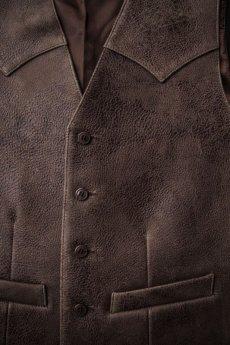 画像2: スカリー ウエスタンヨーク ラムレザー ベスト(ブラウン)/Scully Leather Vest (2)