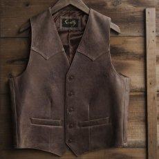 画像1: スカリー ウエスタンヨーク ラムレザー ベスト(ブラウン)/Scully Leather Vest (1)