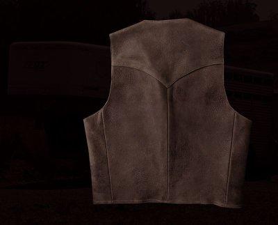 画像2: スカリー ウエスタンヨーク ラムレザー ベスト(ブラウン)/Scully Leather Vest