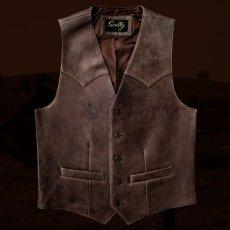 画像3: スカリー ウエスタンヨーク ラムレザー ベスト(ブラウン)/Scully Leather Vest (3)