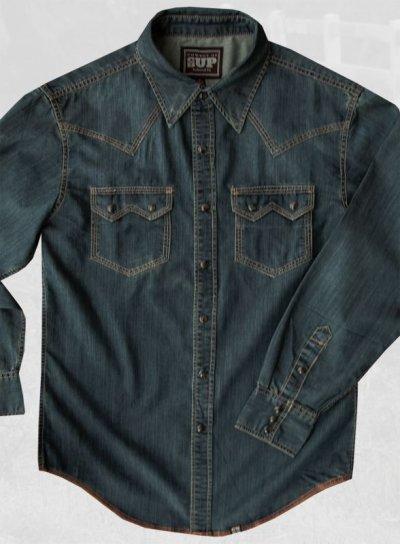 画像2: ビンテージウォッシュ ウエスタン デニム シャツ(インディゴ)/Western Denim Shirt
