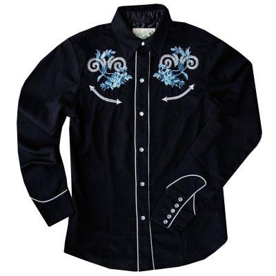 画像1: ローパー 刺繍 ウエスタンシャツ ブラック・ブルーローズ(長袖/レディース)/Roper Long Sleeve Western Shirt(Women's)