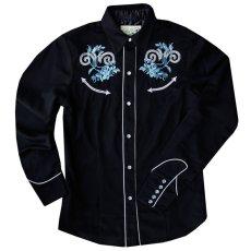 画像1: ローパー 刺繍 ウエスタンシャツ ブラック・ブルーローズ(長袖/レディース)/Roper Long Sleeve Western Shirt(Women's) (1)