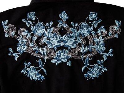 画像3: ローパー 刺繍 ウエスタンシャツ ブラック・ブルーローズ(長袖/レディース)/Roper Long Sleeve Western Shirt(Women's)