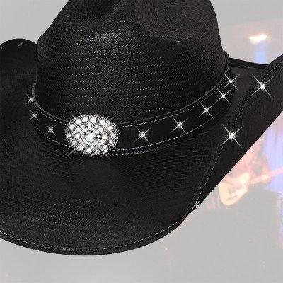 画像1: ブルハイド テリークラーク コレクション ラインストーン ストローハット(ブラック)/Bullhide TERRI CLARK Collection Straw Hat (Black)