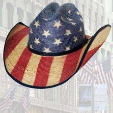 画像2: ブルハイド ウエスタン ストローハット アメリカンフラッグ スタースパングル 20X/Bullhide Star Spangled 20X American Flag Cowboy Hat (2)