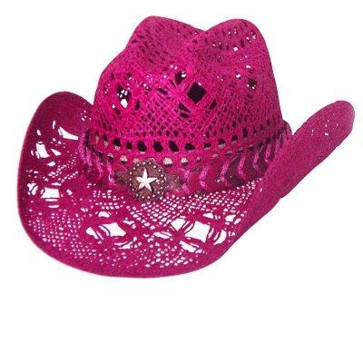 画像1: ブルハイド ウエスタン ストローハット ノーティガール(スター・フクシャピンク)/Bullhide Western Straw Hat Naughty Girl(Fuchsia)