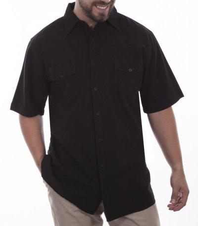 画像1: スカリー ウエスタンヨーク 半袖シャツ(ブラック無地)L/Scully Short Sleeve Western York 2Pocket Shirt(Black)