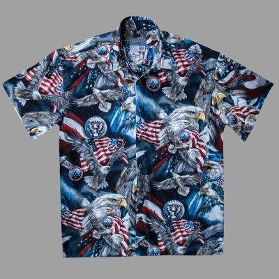 画像3: アメリカンイーグル&アメリカンフラッグ 半袖シャツ/Short Sleeve Shirt