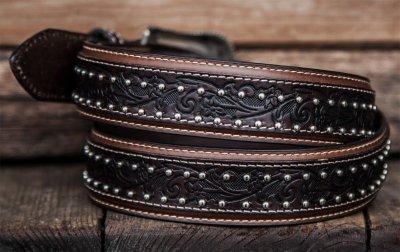 画像2: ウエスタン レザーベルト(オーバーレイダークブラウン・ブラウン)/Western Leather Belt