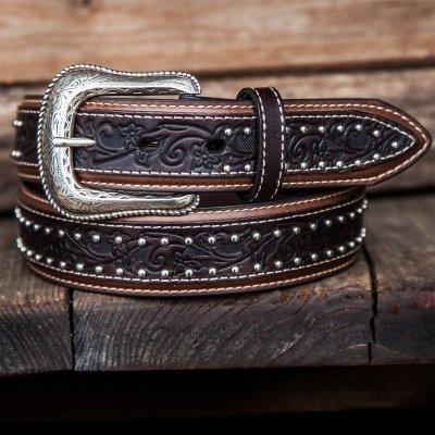 画像1: ウエスタン レザーベルト(オーバーレイダークブラウン・ブラウン)/Western Leather Belt