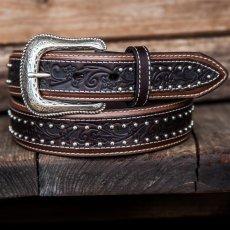 画像1: ウエスタン レザーベルト(オーバーレイダークブラウン・ブラウン)/Western Leather Belt (1)