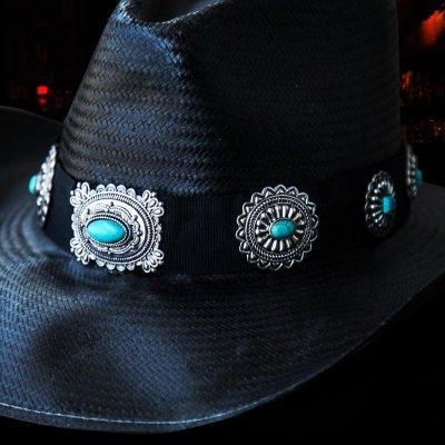 画像2: ブルハイド ウエスタン ストローハット ア ナイト トゥ シャイン(ブラック/シルバー・ターコイズコンチョ)/Bullhide Western Straw Hat A Night To Shine(Black)