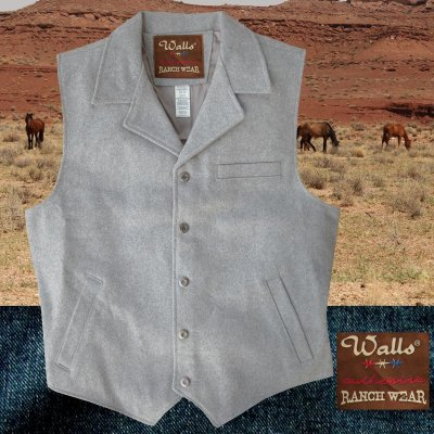 画像1: ウォールズ ウエスタン ウール ベスト(ライトグレー)/Walls Wool Vest