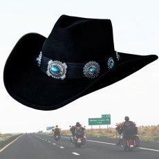 画像2: シルバー&ターコイズコンチョ カウボーイ ハット(ブラック)/Western Felt Hat(Black) (2)