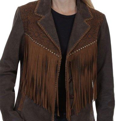 画像2: スカリー レディース ラムスエード フリンジ レザー ジャケット(ブラウン)/Scully Lamb Suede Leather Fringe Jacket(Women's)