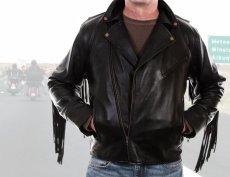 画像2: スカリー ラムレザー フリンジ モーターサイクル ジャケット(ブラック)/Scully Soft Touch Lamb Fringe Motorcycle Jacket(Black) (2)