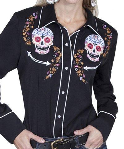 画像1: スカリー 刺繍 ウエスタン シャツ(長袖/シュガー スカル)XS/Scully Long Sleeve Western Shirt(Women's)