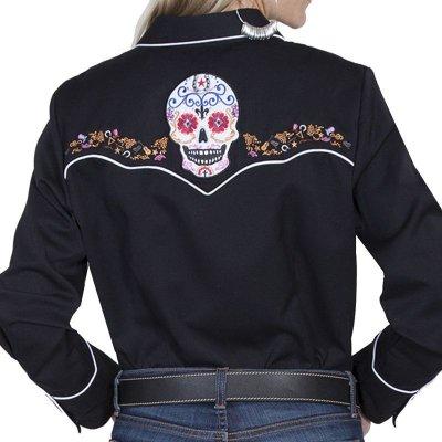 画像3: スカリー 刺繍 ウエスタン シャツ(長袖/シュガー スカル)XS/Scully Long Sleeve Western Shirt(Women's)