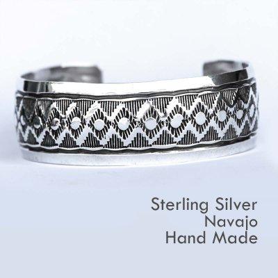 画像1: ナバホ スターリングシルバー ハンドメイド ブレスレット/Navajo Sterling Silver Bracelet