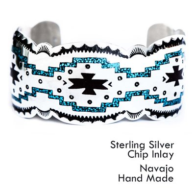 画像1: ナバホ スターリングシルバー チップインレイ ハンドメイド ブレスレット/Navajo Sterling Silver Chip  Inlay Bracelet