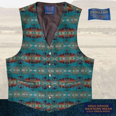 画像1: ペンドルトン U.S.A ヴァ-ジン ウール ベスト(ライトターコイズ)L/Pendleton U.S.A Virgin Wool Vest(Light Turquoise)