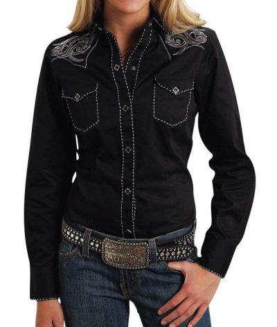 画像1: ローパー 刺繍&ステッチ ウエスタンシャツ ブラック(長袖/レディース)/Roper Long Sleeve Western Shirt(Women's)