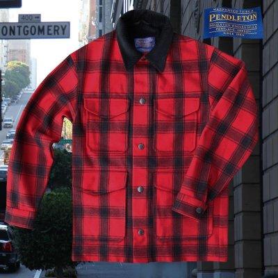 画像1: ペンドルトン ピュアーヴァ-ジンウールストリート クルーザー コート(レッド・ブラック)/Pendleton Street Cruiser Coat (Red Black)