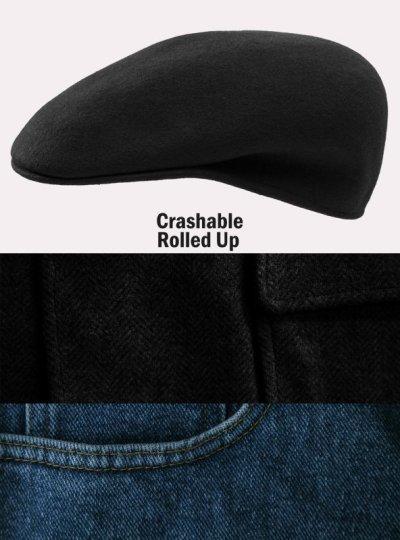 画像1: ハンチングキャップ・クラッシャブル&ロールアップ ウール カフリーハット(ブラック)/Cuffley Hat(Black)