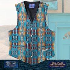 画像1: ペンドルトン U.S.A ヴァ-ジン ウール ベスト(ターコイズ)/Pendleton U.S.A Virgin Wool Vest(Turquoise) (1)