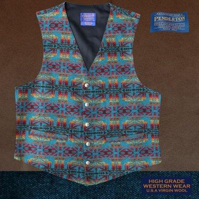 画像1: ペンドルトン U.S.A ヴァ-ジン ウール ベスト(ターコイズ・レッド)L/Pendleton U.S.A Virgin Wool Vest(Turquoise/Red)