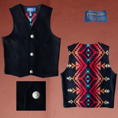 画像1: ペンドルトン ジャパンサイズ ウールベスト(ブラック)jpS/Pendleton Wool Vest(Black)