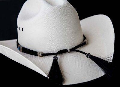 画像2: ブラックホースヘアー&5シルバー・ターコイズコンチョ ハット バンド/Horse Hair w/Conchos Hat Band(Black)