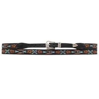 画像3: アズテック刺繍 レザー ハットバンド(ブラック)/Hat Band(Embroidered Black Aztec)
