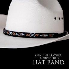 画像1: アズテック刺繍 レザー ハットバンド(ブラック)/Hat Band(Embroidered Black Aztec) (1)