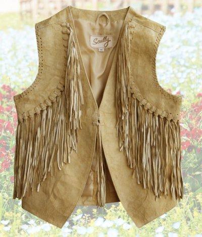 画像1: スカリー ウエスタン フリンジ ベスト(シャミー)/Scully Western Fringe Vest(Women's)