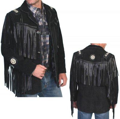 画像1: ウエスタン レザーフリンジジャケット(ブラック)/Western Leather Fringe Jacket